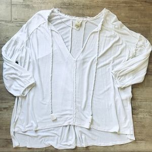 Free People white peasant tee size small